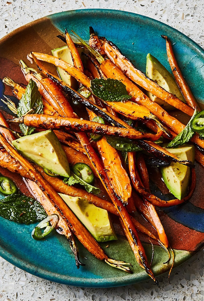grilled-carrots-with-avocado-and-mint