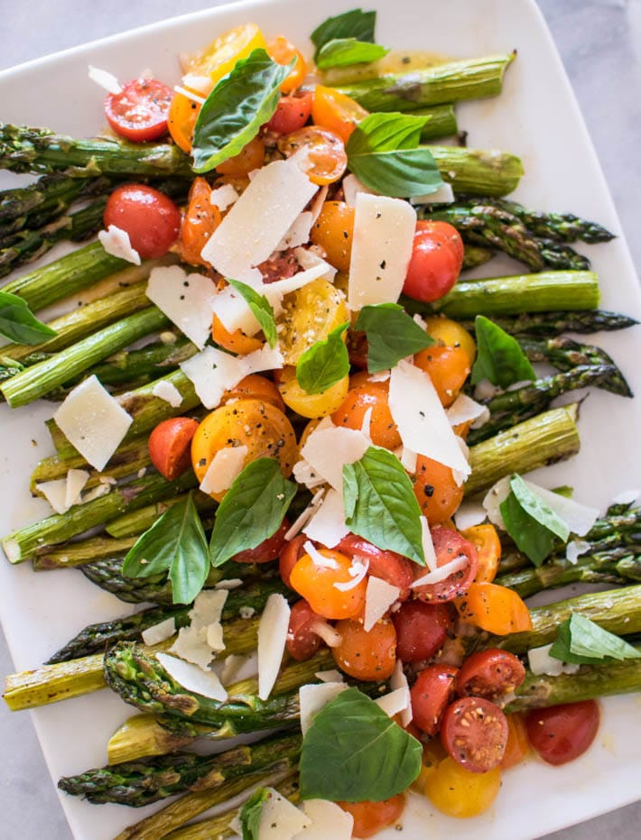 Roasted Asparagus with Tomato Salad